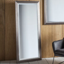 Rylston Wide Large Brushed Metal Chrome Effect Floor Leaner Wall Mirror 155x66cm