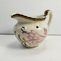 Grays Pottery Hand Painted Small Pitcher Pink Brown Gold Trim Floral