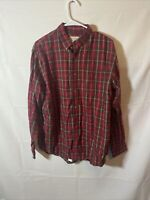 Cabelas Mens Flannel Button Down Red Plaid Long Sleeve Shirt Large Regular