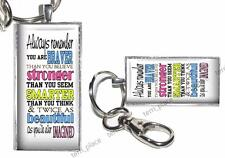 """Braver Stronger Inspirational Quote Handcrafted Glass Top Pendant 2""""x1 Key Chain"""