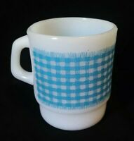 Vtg Anchor Hocking Fire King Ware Blue Gingham Milk Glass D Handle Stackable Cup