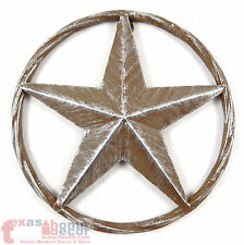 Rustic Barn Star Brown Silver Metal Aluminum Rope Ring Texas Wall Decor 3D 8 in