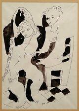 Moshe Avni: Seated Nude / Israeli Jewish Post-War Modernism Expressionism S/Ink