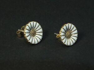 Georg Jensen Gilded with White Enamel Earrings DAISY - 11 mm