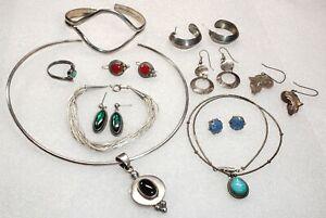 Vintage STERLING Silver Southwest Turq Ring Liq Silver Bracelet more Jewelry Lot