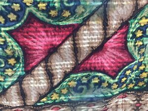 Antique Mohair Wool Carriage Blanket Sleigh Red Green Brown Floral Yellow Pink