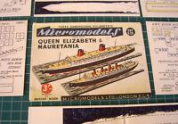 1953 Vintage Micromodels Set S9 Cunard RMS Liners Queen Elizabeth & Mauretania