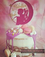 Personalised Moon Fairy floating name and age glitter cake topper (many colours)