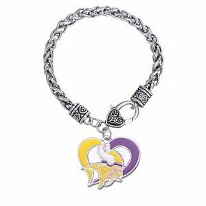 Minnesota Vikings Football Heart Charm Dangle Women's Fashion Clasp Bracelet