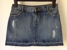 WAREHOUSE SIZE 10 BLUE DISTRESSED DENIM SKIRT HOLIDAY BEACH CASUAL BOHO HIPPY