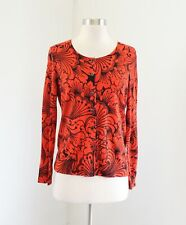 Talbots Orange Black Bold Floral Print Cardigan Sweater Size MP PM