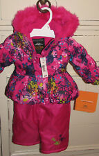 Seattle Pacific Trail Snowsuit 6 Month Infant Hot Pink Floral Overall Faux Fur
