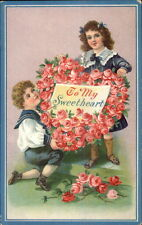Valentine - Kids in Blue w/ Giant Floral Heart Roses c1910 Postcard