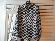 EMANUEL UNGARO STRIKING BLOUSE SIZE UK 14 BLACK & GREY