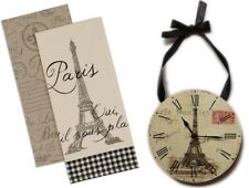 Gift Set: Wall Clock, Round w/ Eiffel Tower & Set of 2 Paris-themed Dish Towels