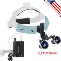 Dental Surgical Binocular Loupes Glass Medical Magnifier 3.5X 420mm +LED Light