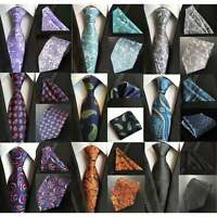 Mens Premium Designer Silk Neck Tie & Hanky Set Wedding Bright Paisley