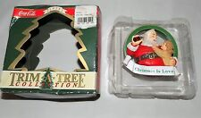 COCA COLA BRAND TRIM A TREE COLLECTION ORNAMENT SANTA & GIRL CHRISTMAS IS LOV