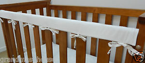 Cot Rail Cover White Crib Teething Pad  - x 1