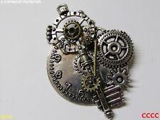 Steampunk broche insignia con Pin Llave Cerrajero Rueda Dentada Engranaje Reloj Reloj