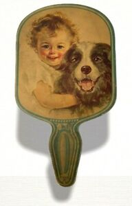 Vintage Hand Fan Toddler with Dog Drink Tip Top Soda Water Advertising St.Louis