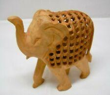 Hand Carved Undercut Decorative Statue Elephant Figurine with Child