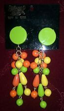 Fairland Creation Tropical Party Multi-color Costume Dangle Clip-on Earrings Grn