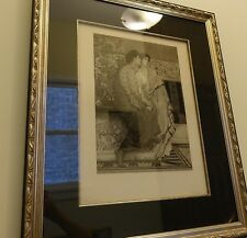"""Leopold Lowenstam aft Sir Lawrence Alma-Tadema """"First Whisper of Love"""" Etching"""