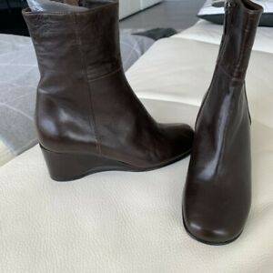 new TARYN ROSE soft brown leather wedge boots bootie zipper sz 35 Italy