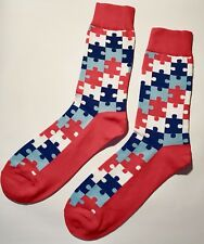 Red Mens Happy Colourful Puzzle Dress Business Cotton Socks size 7-11 Mr1421