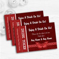 Rustic Vintage Wood Butterfly Deep Red Custom Wedding Bar Free Drink Tokens