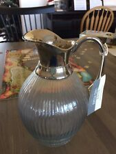"Williams-Sonoma Large Bleeker Pitcher Glass and Metal   Brand NEW  9.25"" tall"