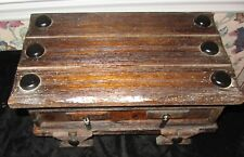 RUSTIC WOOD WOODEN CHEST WIRED BRUSH STYLE MUSIC AND JEWELRY BOX