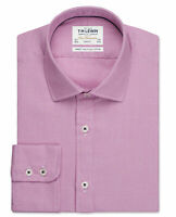 T.M.Lewin Mens Aztec Weave Slim Fit Magenta Single Cuff Shirt