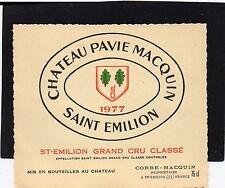 SAINT EMILION GCC VIEILLE ETIQUETTE CHATEAU PAVIE MACQUIN 1977 RARE   §20/09/16§