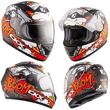 Motorcycle Helmet Full Face Ckx Rr519Y Vortix Medium Red Orange White Youth Kids