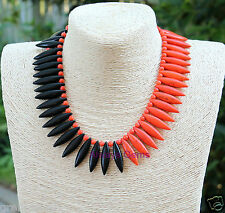 Coral, Tangerine Orange and Black Howlite asymmetrical necklace Handmade and new