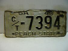 1948 Georgia License Plate   C/T - 7394  PEACH STATE      Vintage   as5161