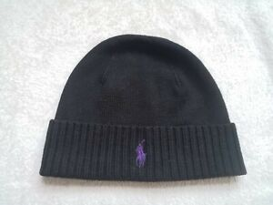Polo Ralph Lauren Black Beanie Mens One Size New Without Tags 100% Merino