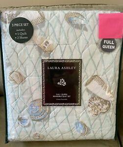 New Laura Ashley Weekly Getaway Green Quilt Set Full / Queen 100 Cotton Seashell