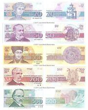 Bulgaria 20 + 50 + 100 + 200 + 500 Leva Set of 5 Banknotes 5 PCS UNC