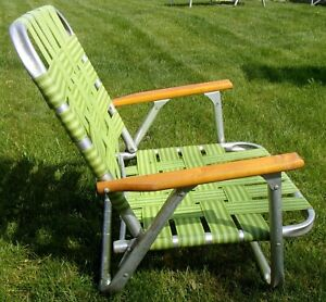 Vintage Aluminum Folding Chair Beach Lawn Patio Outdoor Webbed Strap multi color