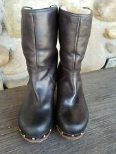 "UGG WomensAustralia Lynnea 1958 2.75"" Wood Heel Black Leather Boots Sz 7"