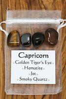 Capricorn Crystal Gift Set Golden Tiger's Eye Hematite Jet Smoky Quartz