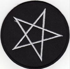 Aufnäher Bügelbild Iron on Patches Pentagram Pentakel Drudenfuß schwarz (a5f4)