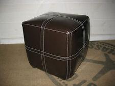 pouf carre simili cuir surpiqué marron chocolat repose pieds bout de canapé