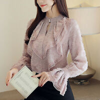 New Korean Spring Women Ruffle Flare Sleeve Lace Chiffon Shirt Casual Blouse Top