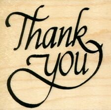 "Thank You  2"" x 2"" Stampendous Rubber Stamp  w/m  Free Shipping  NEW"