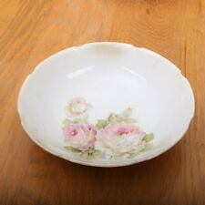 Leuchtenburg Decorative Bowl Pink Flowers Green Leaves Made In Germany