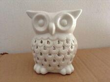 White Owl Huile Cire brûleur-céramique ornement Tea Light Holder